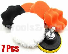 "7pc 3"" Auto Car Polish Wax Foam Sponge Pad Polisher Buffer Kit Drill Adapter Set"