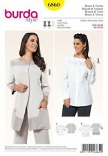 Burda 6860 Sewing Pattern Women's Blouse Tunic Tops Button-up Plus Sizes 20-34