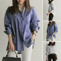 ZANZEA Women Long Sleeve Workes Buttons Basic Striped Top Blouse Shirt Ladies