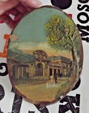 1950 Vichy postcards old photos glued and painted on wooden slice, frame-table