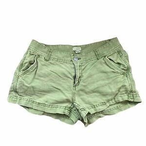 J. Crew Factory Green Linen Blend Shorts Women's Size 00 Low-Rise Casual Basic