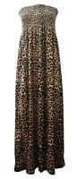 NEW LADIES BROWN BLACK LEOPARD PRINT SHEARING BANDEAU MAXI DRESS PLUS SIZE 14-20