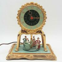 Vintage United Clock 990 Victorian Dancers Motion Electric Gold Decorated