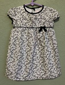 Janie And Jack 12-18 Months White Floral Dress Long Black Detail
