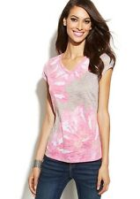 NWT INC International Concepts Cap-Sleeve Tie Dye Tee Fresh Cement Size Small