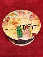 Boite ronde miniature os bovin décor persan peint main