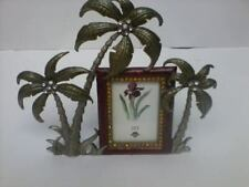 Vintage Enameled & Rhinestone Ashleigh Manor 3 Palm Trees Easel Picture Frame