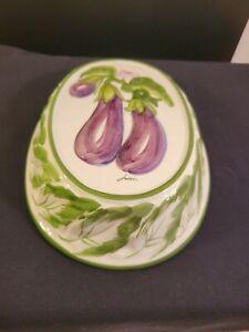 Vintage Ceramic Jello Mold Wall Hanging Oval Embossed Purple Eggplant