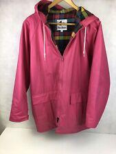 VTG Misty Harbor M Pink Womens Plaid Lined Slicker Jacket All Weather Rain Coat