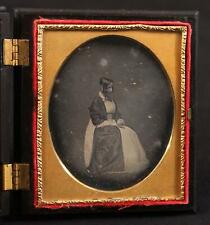 Early Antique Sealed 1/6 Plate Daguerreotype, Young Mourning Woman, 1840s