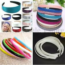 New 12Pcs New Fashion White Girl Plain Plastic No Teeth Hair Bands DIY Headband