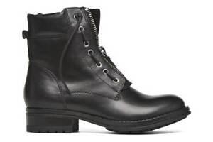 Aldo ISAACA Womens Black Leather Combat Boots rrp £110 UK 8 EU 42 LG05 97 SALEw