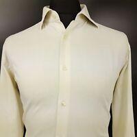 HUGO BOSS Mens Cufflink Shirt 41 16 (LARGE) Long Sleeve Off White Regular Fit