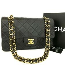 CHANEL Double Flap 23 Quilted CC Logo Lambskin w/Chain Shoulder Bag Black/r575