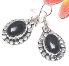 925 Silver Overlay Earrings Jewellery - Onyx - 25mm Height - OLD01