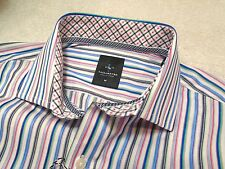 Tailorbyrd 100% Cotton Blue Stripe with Contrast Cuff  Shirt NWT Medium $99.50