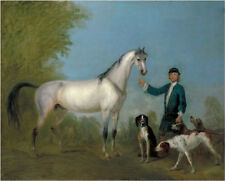 """oil painting handpainted on canvas""""Horse with Groom and Hounds"""" N10733"""