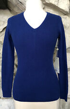 NWT MARGARET O'LEARY Size XS Blue V-Neck 100% Cashmere Ribbed Pullover Sweater