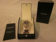 Movado Museum Classic Mens Wrist Watch Stainless Steel Gold Plate