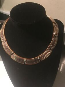Signed ARTISAN VINTAGE TAXCO NECKLACE, STERLING SILVER, COPPER AND BRASS