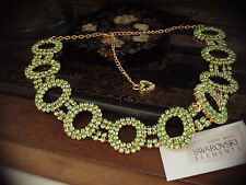 Peridot Green Crystal Loops Necklace Made with Swarovski Elements. Adjustable