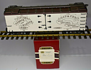 DELTON LOCOMOTIVE WORKS G SCALE TIFFANY DSP & PRR WOOD REFRIGERATOR CAR 4257T