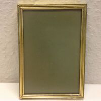 Vintage Brass Danish Photo Frame Convex Glass Art Deco Home Decor Size 9x14cm