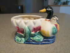 Vintage Ceramic Porcelain Duck Flower Pot