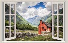 WALL STICKERS ADESIVI MURALI Vallata Montagna Natura Trompe L'oeil finestra