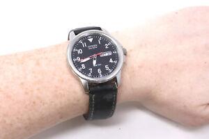 A Vintage Citizen Eco-Drive WR 100 Quartz Military Strap Running Wristwatch