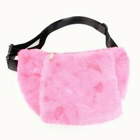 Light Pink Waist Fanny Pack Purse Handwarmer Wallet Black Faux Fur Bag Trendy