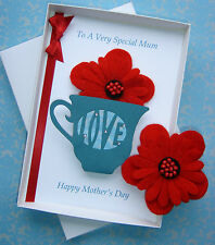 Personalised Mother's Day or Birthday Gift Boxed Card. Includes Corsage Brooch