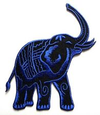 Thailand Siam War Elephant Blue Embroidered Iron on Patch + Free Shipping