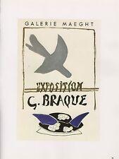 """1989 VINTAGE """"G. BRAQUE GALERIE MAEGHT"""" MOURLOT MINI POSTER COLOR Art Lithograph"""