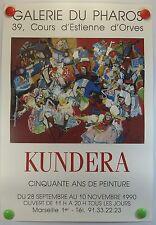 Affiche ancienne Galerie du Pharos à Marseille exposition KUNDERA  /8PB
