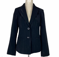 Table Eight Womens Black Striped 2 Button Fully Lined Corporate Jacket Size 8