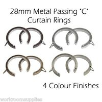"28mm Lined Metal Bay Pole Passing ""C""  Curtain Rings - Pack of 20 - 4 Colours"