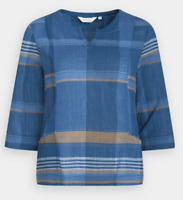 New Seasalt Ambient Light 3/4 Sleeve Blue Subtle Check Top RRP £49.50 Save £28