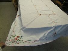 117x65 Vtg Xmas Embroidery Red & Green Poinsettia Embroidered Holiday Tablecloth