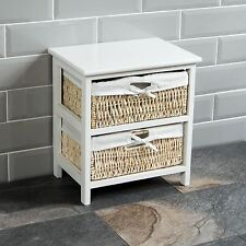 2 Drawer Wood Maize Basket Drawers White Cupboard Cabinet Unit By Home Discount
