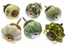 6 x Mixed Shabby Chic Ceramic Cupboard Knobs Cabinet Drawer Pulls (MG-229-A)