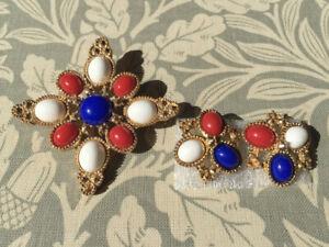 1972 Sarah Coventry Pin Earrings Set D&E Juliana Brooch Book Piece 'Americana'