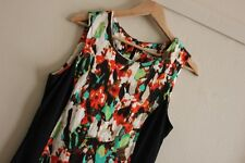 Grace Hill Blurred Floral Jersey Knit Sleeveless Pencil Midi Dress Size 14 Day