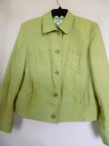 TALBOTS Green 100% Irish Linen Jacket Blazer sz 10