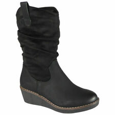 Ladies Mid Calf Boots Womens Work Winter Rouched Wedge Heel Comfy Shoes Size