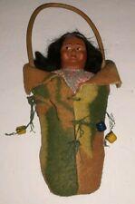 "Vintage Composition Skookum 9"" Doll in Hanging Papoose"