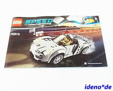 LEGO SPEED CHAMPIONS  Bauanleitung 75910 Porsche 918 Spyder Neu NO Parts
