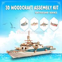 3D Wooden Puzzle Jigsaw Battleship Series Models Kits Kids Educational DIY Toy