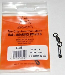 Sampo Solid Rings and Scissor Snaps Black - Size 4 - 80lb Test BX5MB Pack of 2