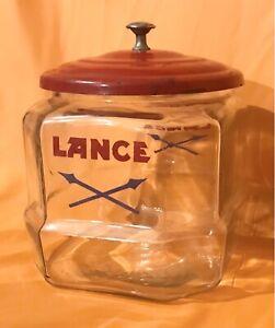 "Rare Vintage advertising Lance Glass Cracker Jar General Store Display 7""Red Lid"